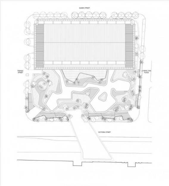 总平面图 建筑室内活动围绕中央空间分三层布置,建筑一层与周边街道形成一个连续的路网,方便行人从各个方向进入Iluma  建筑二层的一座人行天桥冲出Iluma,跨越道路,在Iluma与临近的开发项目间建立一条通道。所有通道都通向主厅,主厅是一个高40m 的空间,在水平方向被分割成上下两个体量,每个体量都有各自的特色,但从视觉上看是相互关联的。 大厅提供照明和声响用于娱乐活动和表演,下层大厅主要用于小规模的专卖零售,而上层大厅则用于各种娱乐活动。分割两个空间的是一个城市广场,高出街道20m,上面有酒吧,游戏,