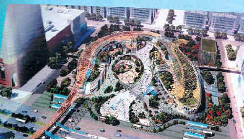 广场休息区手绘效果图
